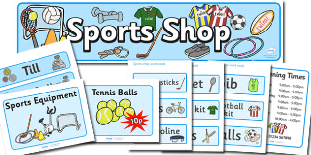Sports Shop Role Play Pack - Sports, sport, shop, role play, pack, equipment, being healthy, keeping fit, equipment, football, rugby, cricket, ball, PE