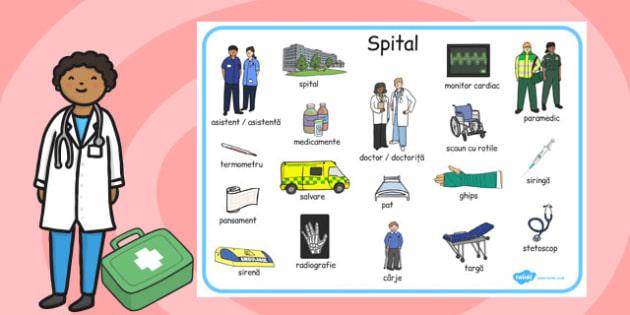 La spital - Planșă cu imagini și cuvinte