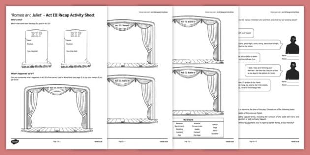 Romeo and Juliet Act III Activity Sheet, worksheet
