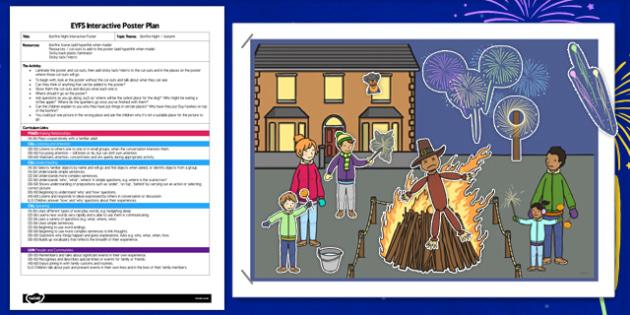 Bonfire Night EYFS Interactive Poster Plan - bonfire night, eyfs, interactive, poster, plan, display