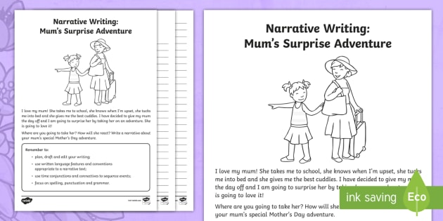 Mum\'s Surprise Adventure - Narrative Writing Worksheet /