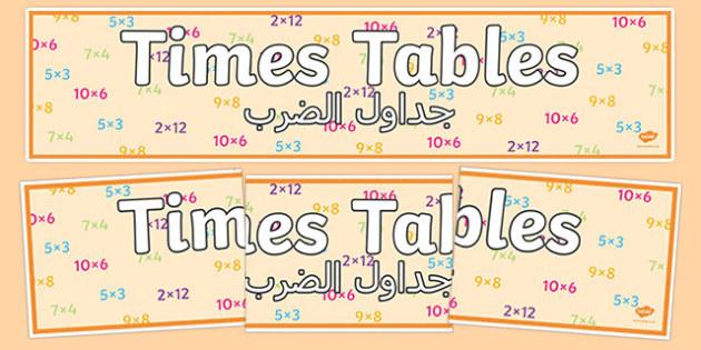 Times Tables Display Banner Arabic Translation - times tables, display banner, display, bannerarabic,