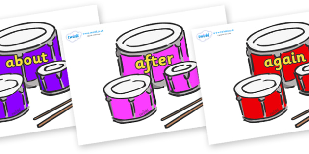 KS1 Keywords on Drums - KS1, CLL, Communication language and literacy, Display, Key words, high frequency words, foundation stage literacy, DfES Letters and Sounds, Letters and Sounds, spelling