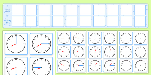 Visual Timetable Display With Clocks Polish - English / Polish - Polish-translation, time, clock, timetable, diary, calendar