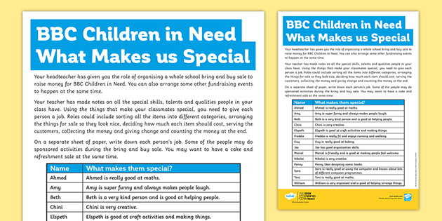 KS2 BBC Children in Need What Makes Us Special PSHCE Worksheet