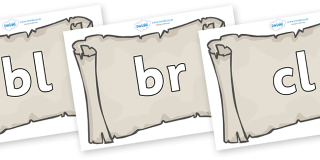 Initial Letter Blends on Scrolls - Initial Letters, initial letter, letter blend, letter blends, consonant, consonants, digraph, trigraph, literacy, alphabet, letters, foundation stage literacy