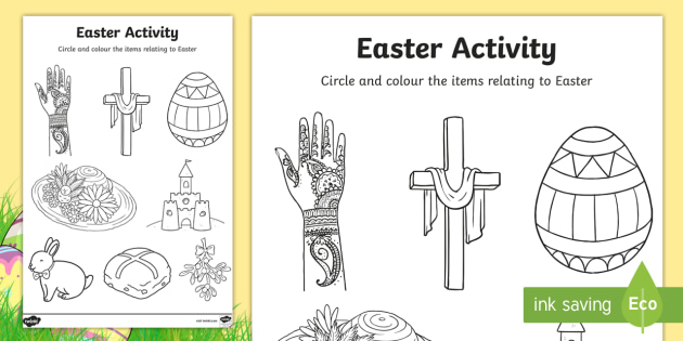 Easter Colouring Activity Sheet - easter, colour, RE, religion, worksheet