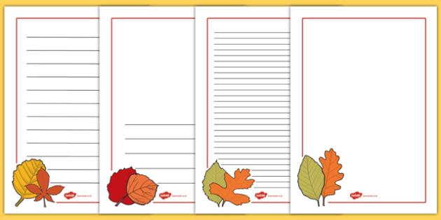 Autumn Page Borders - autumn, page, borders, writing, frames