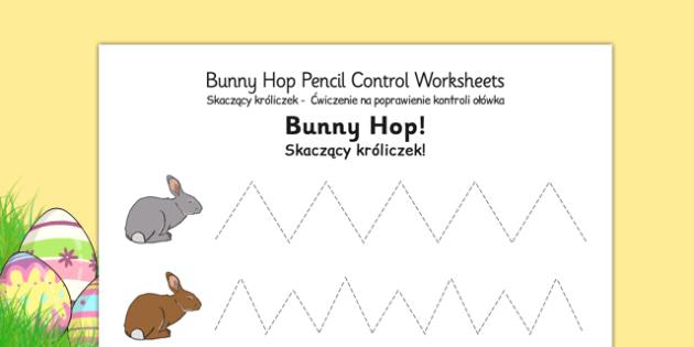 bunny hop pencil control worksheets polish translation polish. Black Bedroom Furniture Sets. Home Design Ideas