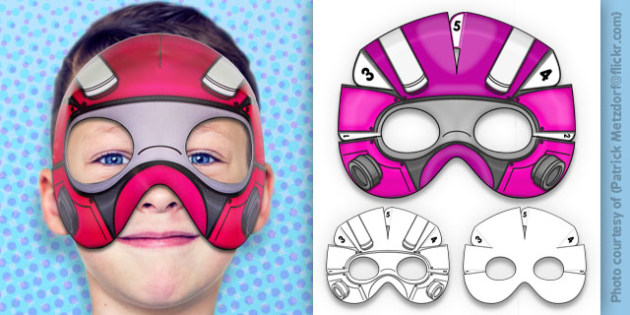 D Robot Superhero Mask Printable  D Robot Superhero Mask