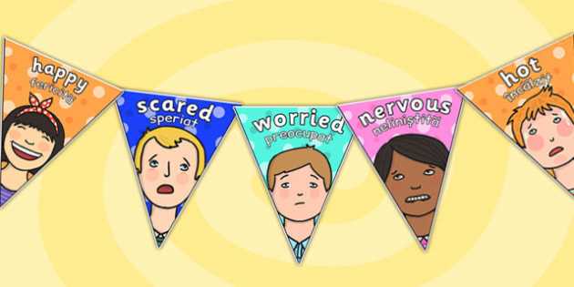Emotions Display Bunting Romanian Translation - romanian, emotions, display
