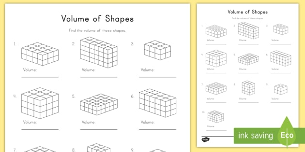 Volume of Shapes Worksheet / Worksheet - volume, shapes ...