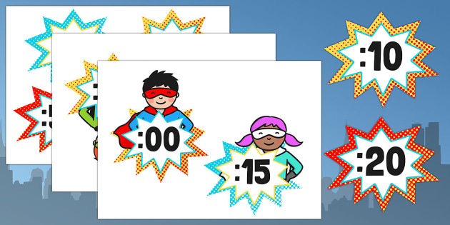 Editable Superhero Themed Analogue to Digital Clock Labels
