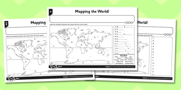What a Wonderful World Activity Sheet Mapping the World - world, worksheet