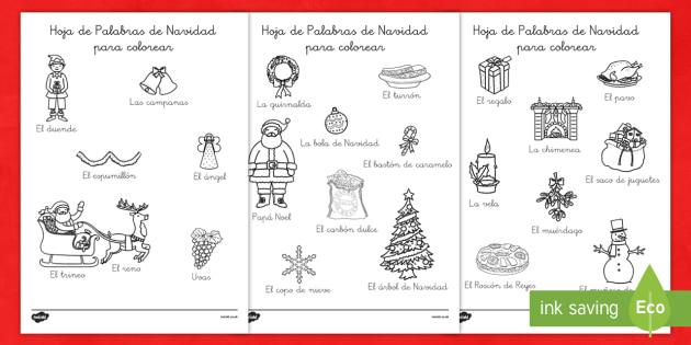 Hojas de colorear - Palabras de Navidad - spanish, christmas, words