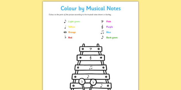 Colour by Musical Notes Activity Sheet - colour, musical notes, activity, sheet, worksheet