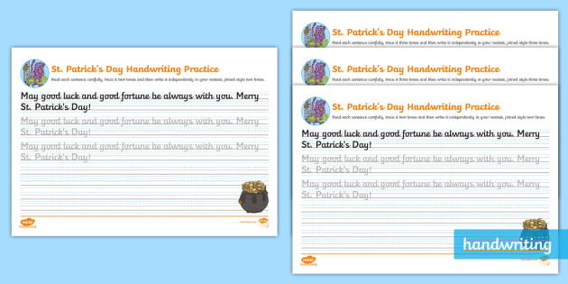 st patrick 39 s day cursive handwriting practice ks2. Black Bedroom Furniture Sets. Home Design Ideas