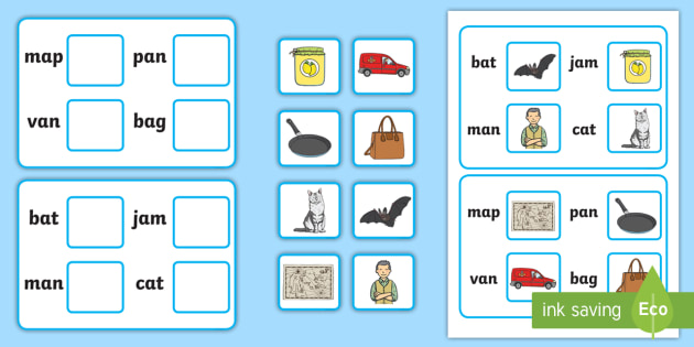 Workstation Pack: Picture to CVC (a) Matching Activity Activity Pack - Workstation Packs, TEACCH, ASD, autism, independent work, CVC,a,matching, activity sheets, phonics,