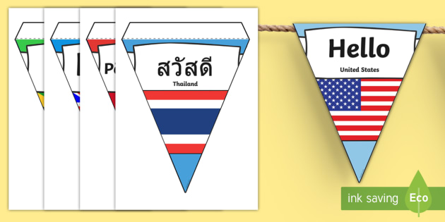 Hello in Multiple Languages Flag Display Bunting - bunting, flags, languages, hello, mixed languages, display, greetings