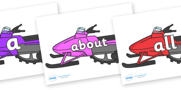 100 High Frequency Words on Snowmobiles - High frequency words, hfw, DfES Letters and Sounds, Letters and Sounds, display words