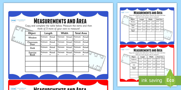 Measurements and Area Table Maths Challenge Cards - measure ...