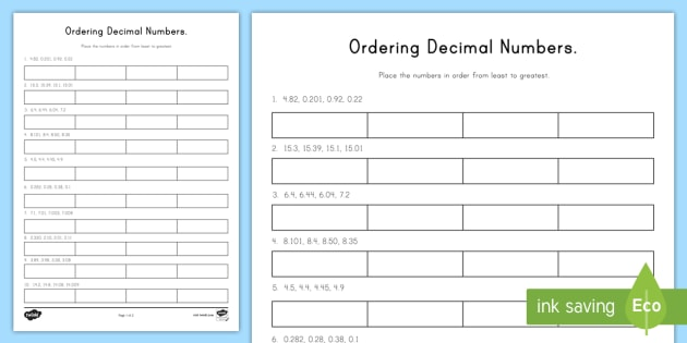 Ordering Decimal Numbers Worksheet / Worksheet - worksheet ...