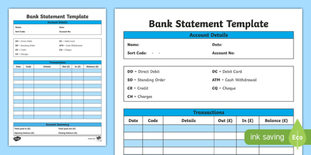 Bank Statement Template CfE everyday maths real life maths – Template Bank Statement