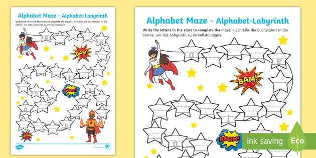 superhero themed alphabet maze activity sheet english german eal german. Black Bedroom Furniture Sets. Home Design Ideas