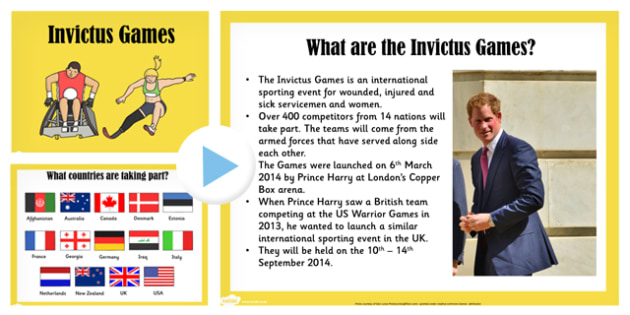 Invictus Games PowerPoint - sports, games, invictus games, sport