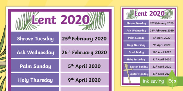 Lent Calendar 2020 FREE!   Dates in Lent Display Poster