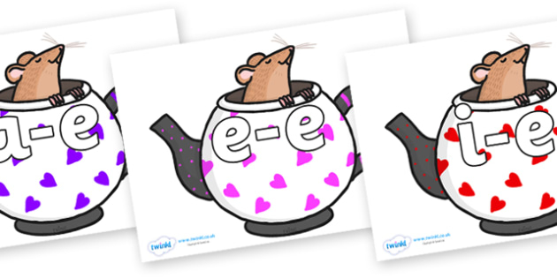 Split Digraphs on Mouse in Teapots - Modifying E, letters, modify, Phase 5, Phase five, alternative spellings for phonemes, DfES letters and Sounds