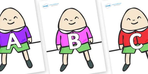 A-Z Alphabet on Humpty Dumpty - A-Z, A4, display, Alphabet frieze, Display letters, Letter posters, A-Z letters, Alphabet flashcards