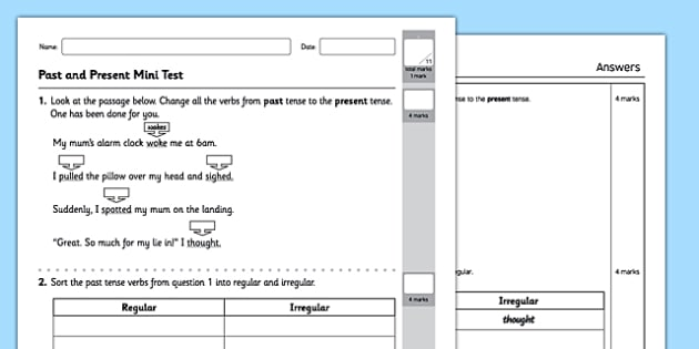 Standard English Verb Inflections Test - GPS, past tense, present tense, local spoken, was and were