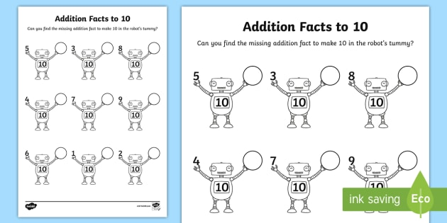addition facts to  on robots worksheet  worksheet  addition  addition facts to  on robots worksheet  worksheet  addition facts  kindy year
