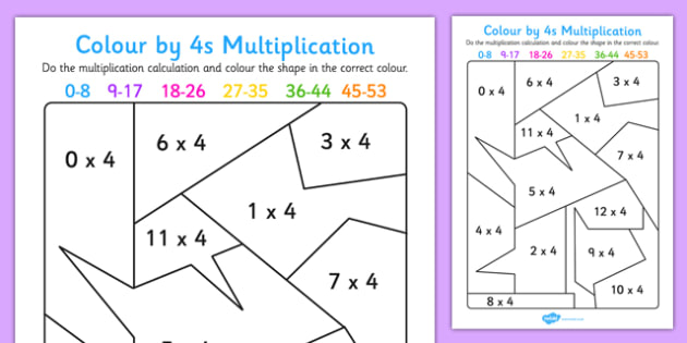 Colour by 4s Multiplication Activity Worksheet - colour, 4s, multiplication, activity, worksheet
