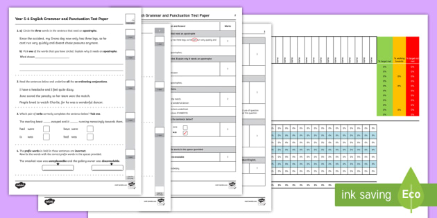 Year 5-6 Grammar and Punctuation Assessment Pack - English, Grammar