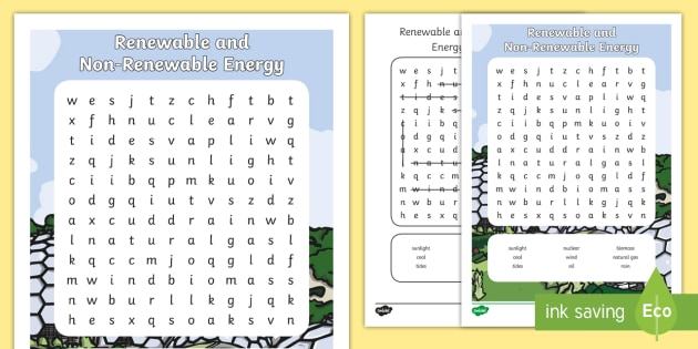 Renewable and Non-Renewable Energy Word Search - Science ...