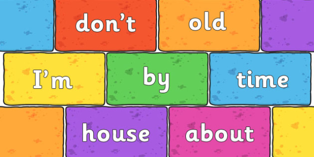 Phase 5 High Frequency Words on Multicoloured Bricks - phase five