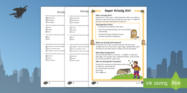 Grizzly Girl: A Superhero Differentiated Reading Comprehension Activity