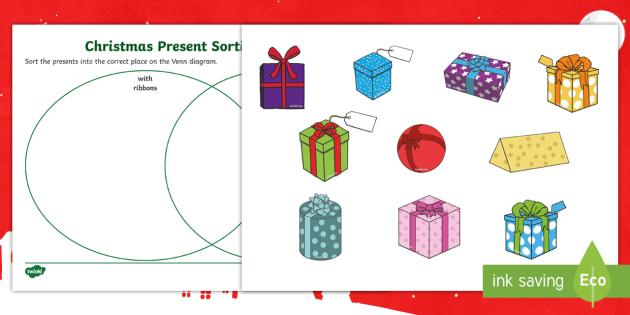 Christmas Presents Venn Diagram Sorting Activity Christmas