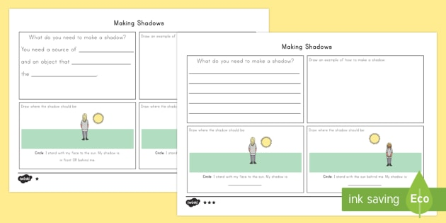 Making Shadows Assessment Differentiated Worksheet Activity