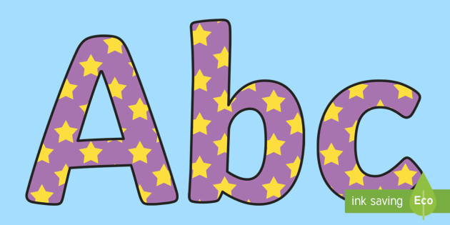 Purple and Yellow Star Display Lettering - stars, display numbers, display lettering, numbers for display, cut out numbers, display letters, number