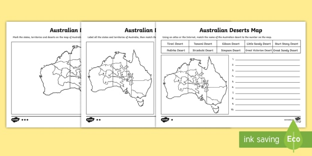 Australian Deserts Map-Australia - australia, maps, map