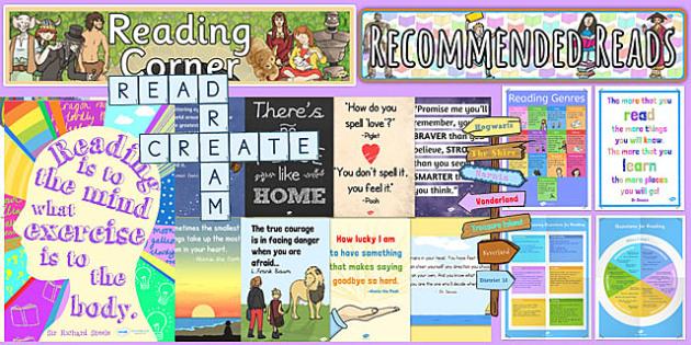 Reading Corner Area Display Pack KS2 - reading corner, area, display