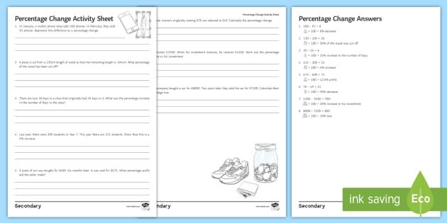 percentage change worksheet activity sheet ks3 foundation. Black Bedroom Furniture Sets. Home Design Ideas