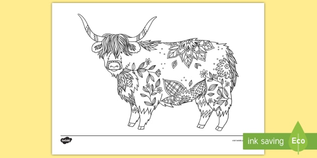 Highland Cow Mindfulness Colouring Page