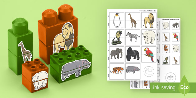 Zoo Animals Matching Connecting Bricks Game - EYFS, Early Years, KS1, animals, living things, at the zoo, lion, tiger, elephant, panda, zebra, gir
