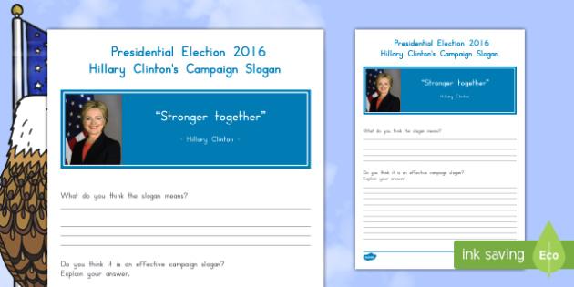 Clinton's Campaign Slogan Activity Sheet
