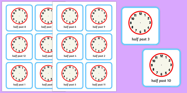 Write the Time Half Past Cards - write the time, half past, cards, write, time, activity
