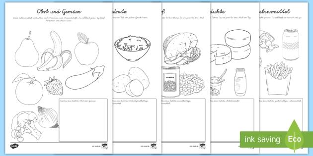 Gesunde Ernährung Ausmalbilder - Nahrung, Essen, Lebensmittel